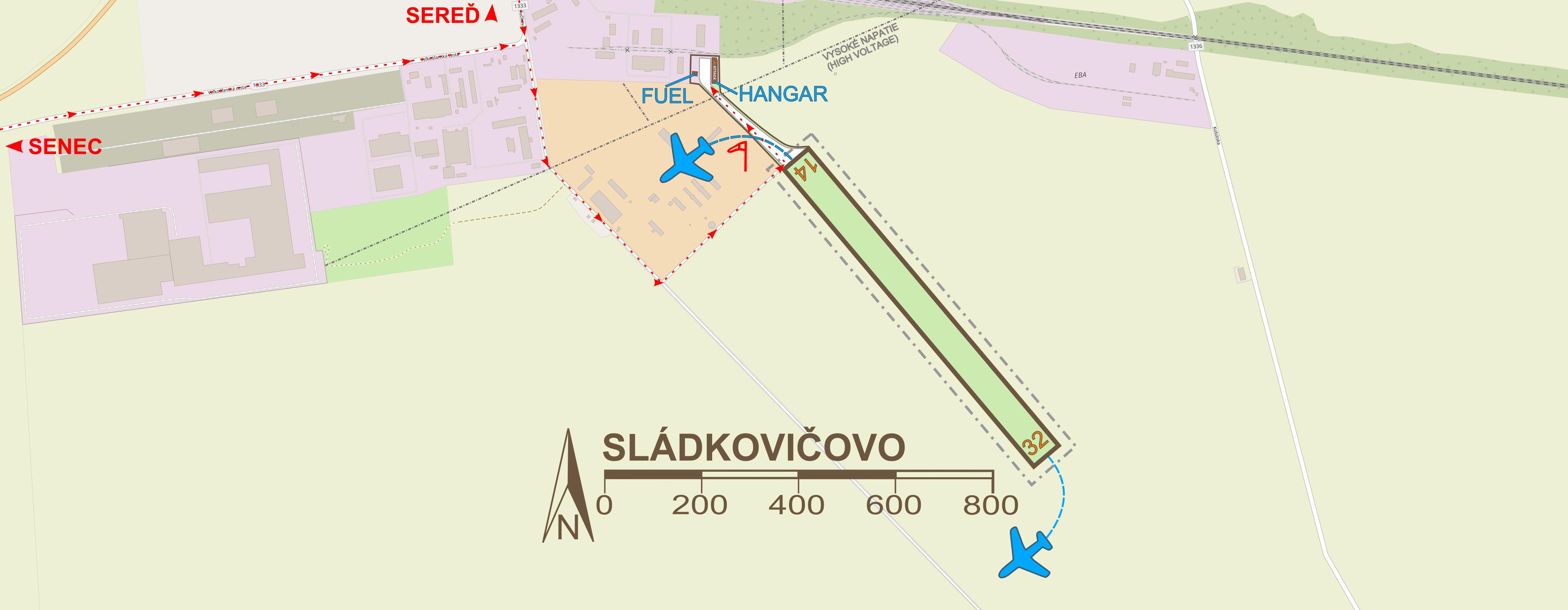 mapa letiska Sládkovičovo